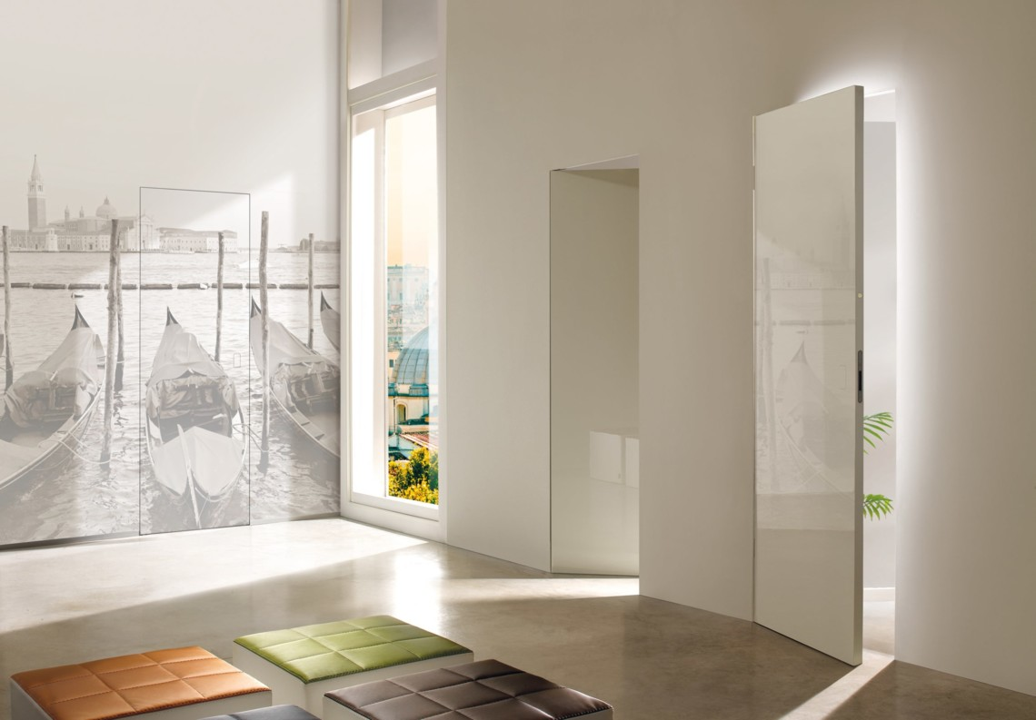 Flush door ABS panna shiny with Barausse Secret Frame