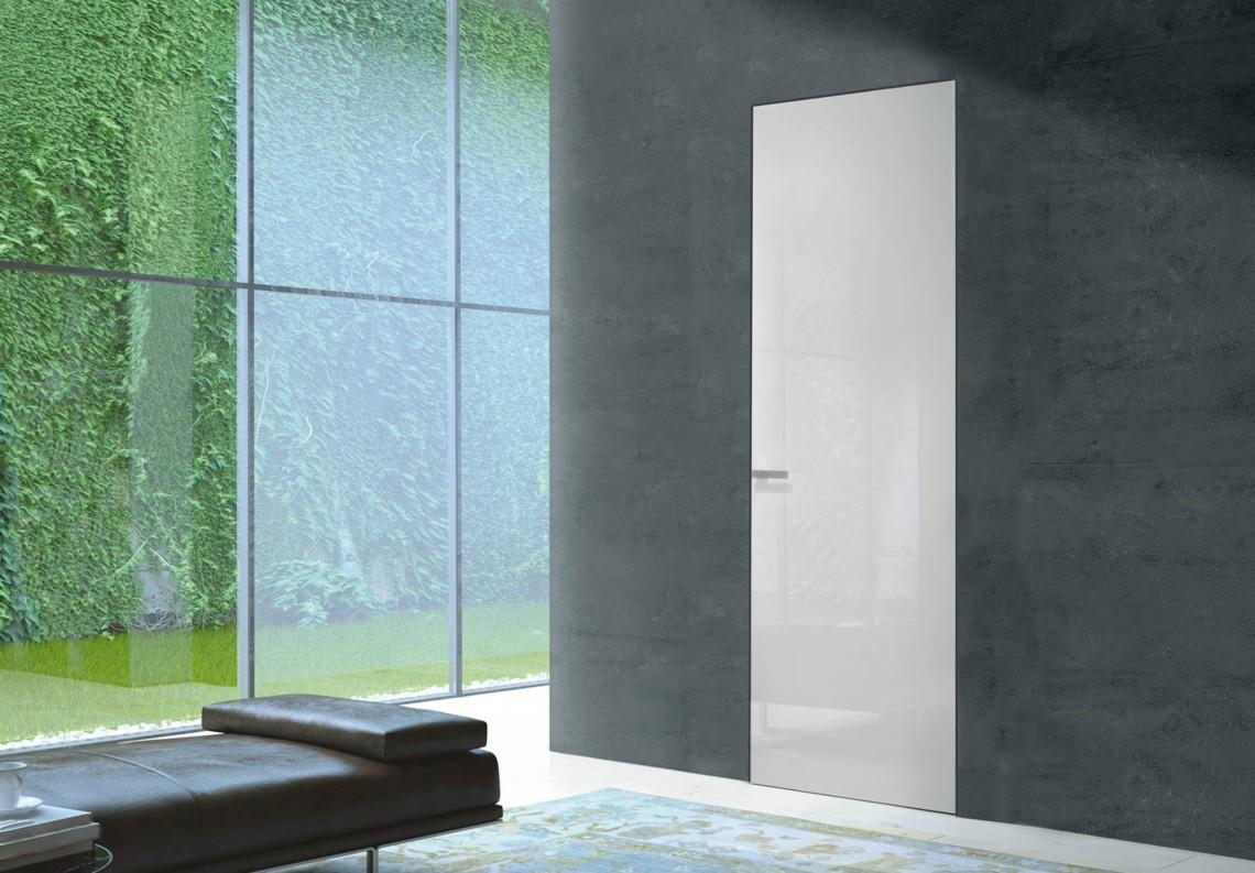 Flush modern door white shiny with Barausse Secret Frame