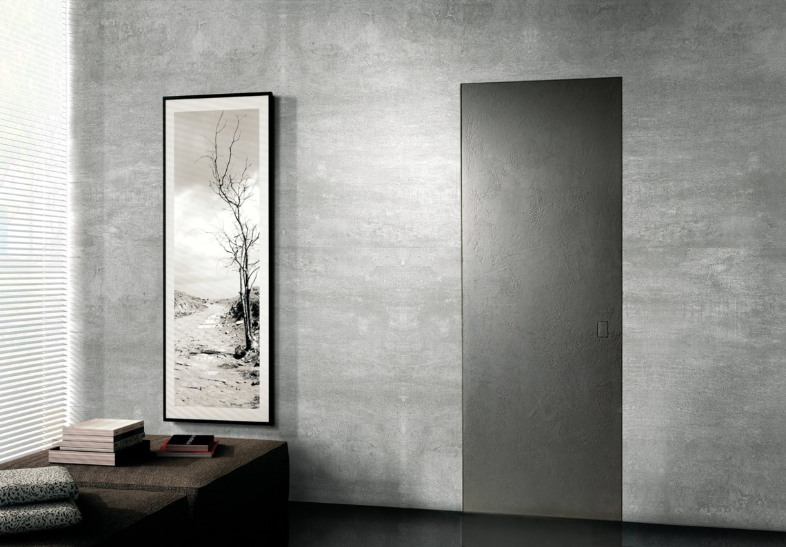 Flush modern door stone effect ardesia with Barausse Secret Frame
