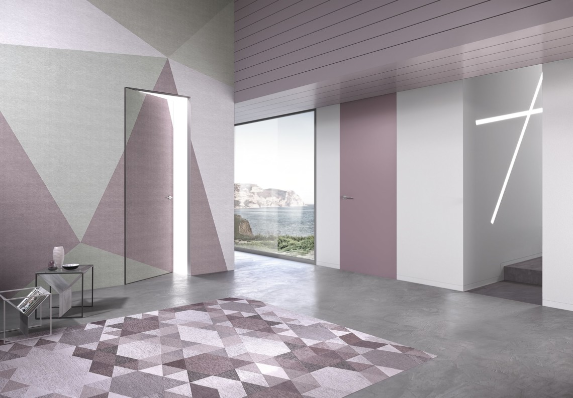 Flush door pink lacquered with Barausse Secret Frame