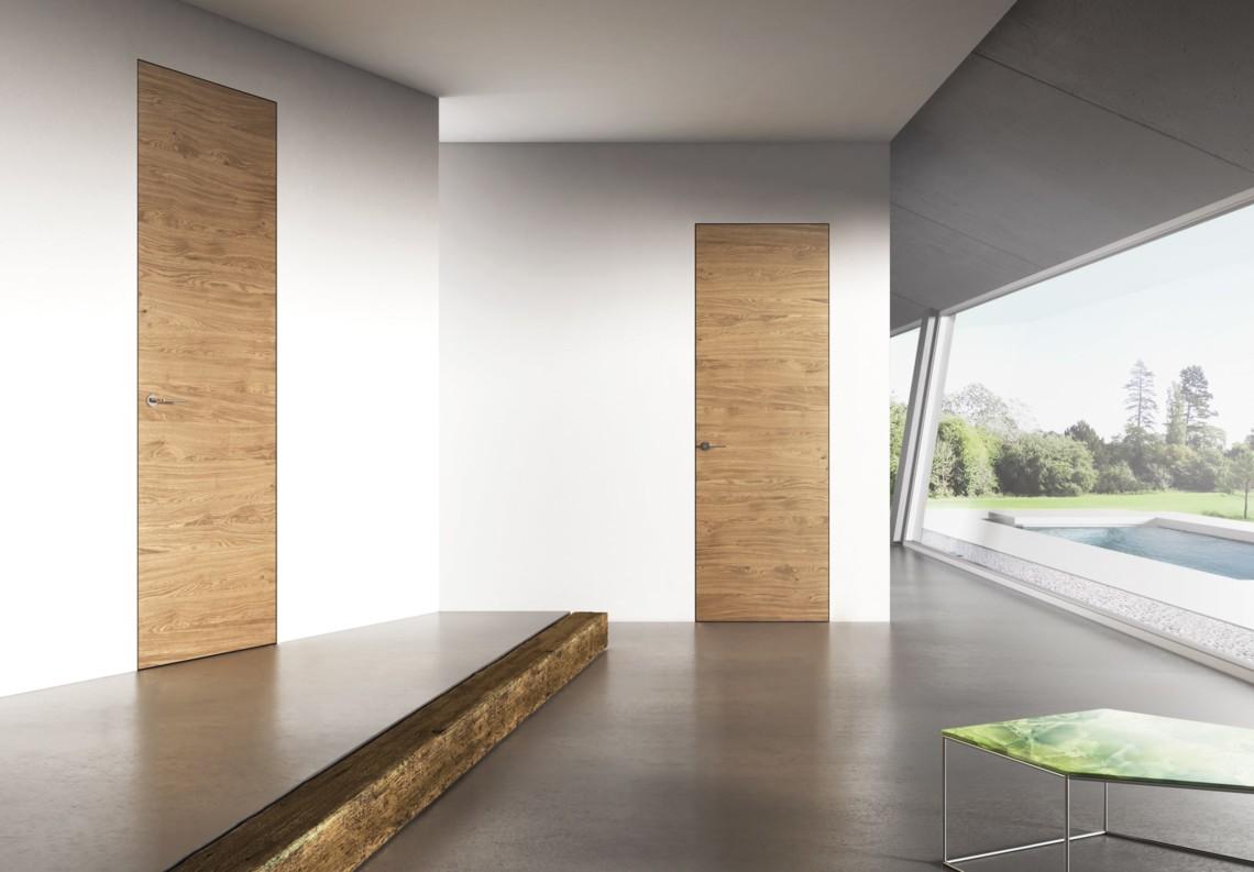 Flush door natural Oak with knots with Barausse Secret Frame