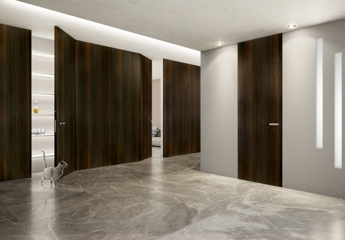 Flush door heat treated and brushed Oak with Barausse Secret Frame