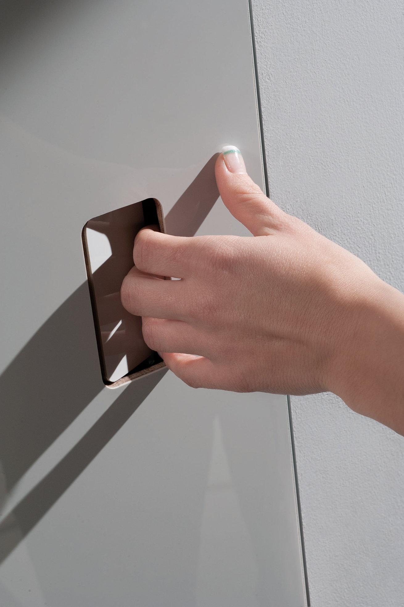 Particular of flush door invisible push handle