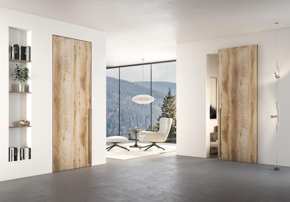Porta moderna filomuro effeto legno secret