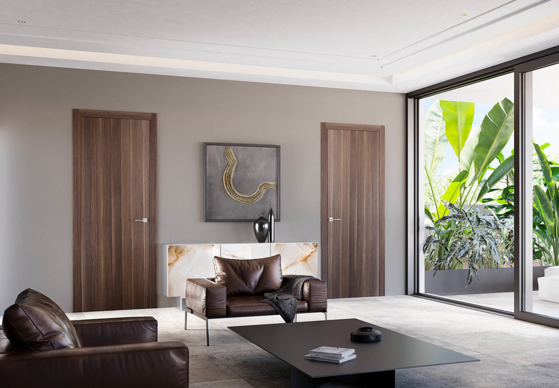 Porte moderne a battente Feel in essenza legno moka