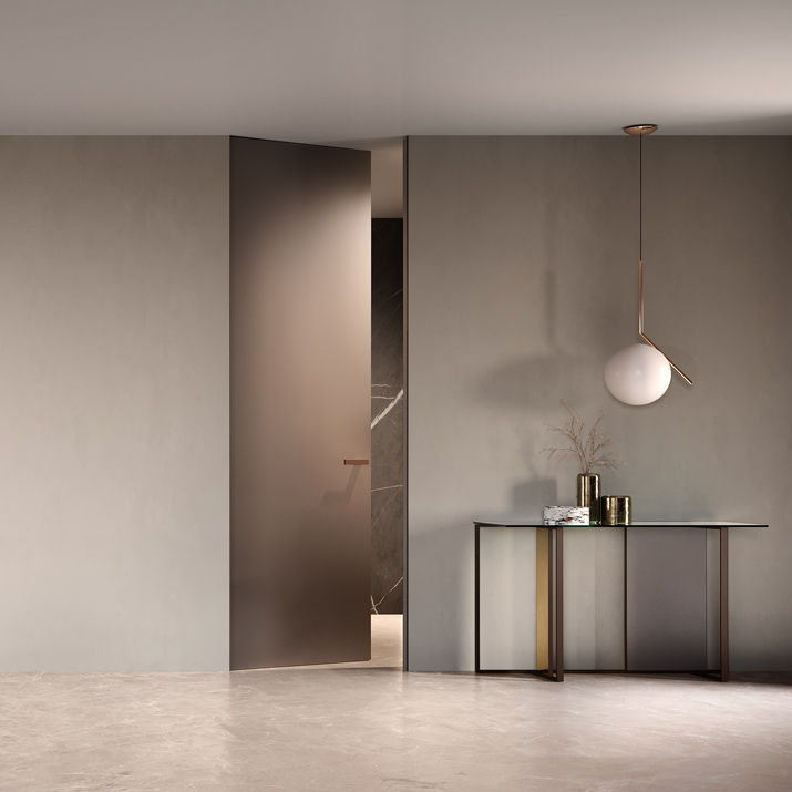The innovative METAL lacquered finish gives these flat doors a unmistakeable surface texture with a unique, refined effect.